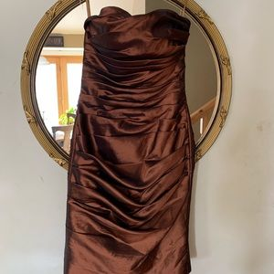 Brown strapless cocktail dress